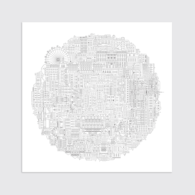 New york blueprint the city works vienna art print malvernweather Image collections