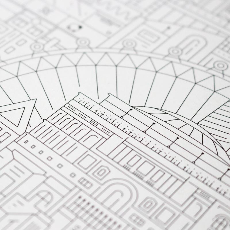 Paris blueprint the city works london art print malvernweather Choice Image