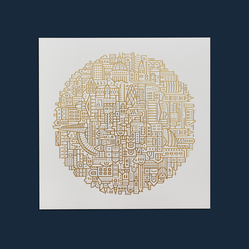 London Gold Foiled Art Print By The City Works